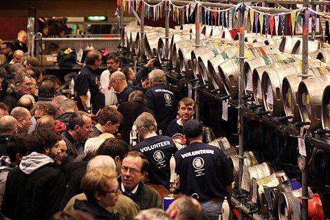 Punters enjoy a pint at Battersea Beer Festival