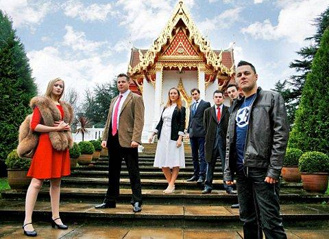 The cast at the Buddhapadipa Temple, Wimbledon.