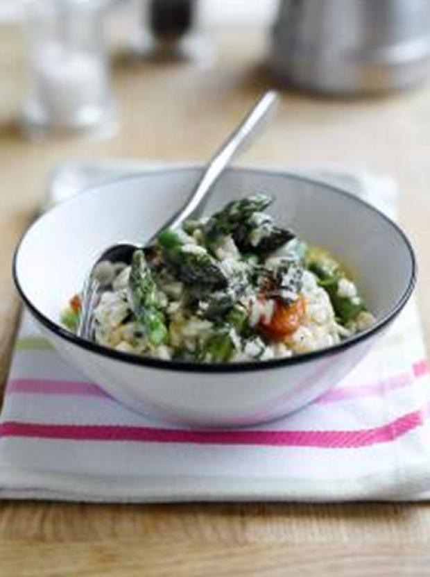 Recipe: British asparagus, watercress and pan roasted cherry tomato risotto