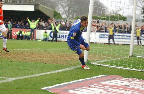 Goalscorer: Brennan Dickenson scores Dons' second goal in Saturday's 3-2 win over York City, that preceded a 3-1 win at Southend United	             SP74681