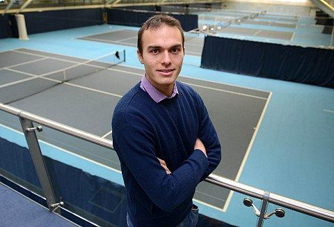 Holding court: Ross Hutchins at the National Tennis Centre in Roehampton 	SP74694