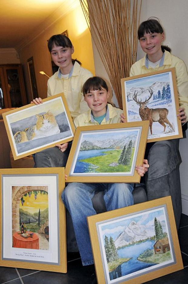 Artwork created by the White triplets will go on display at the Corner Gallery in Beeches Avenue, Carshalton Beeches.