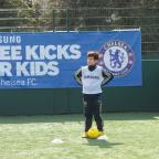A young footballer enjoying the first Free Kicks For Kids training session with the Chelsea FC Foundation