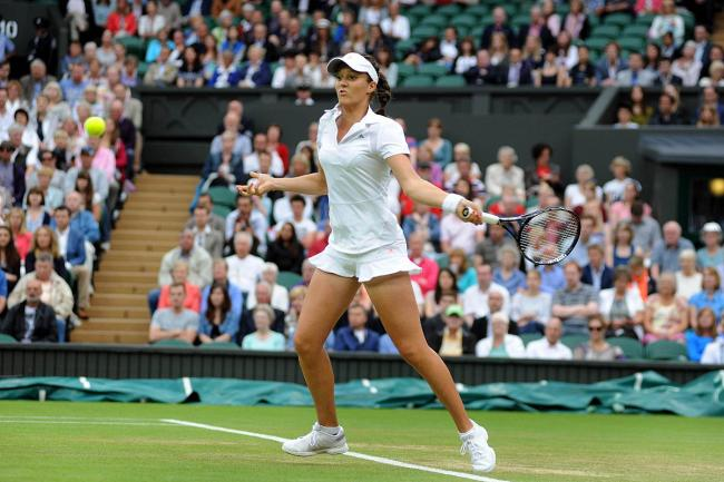 Laura Robson powers a forehand during her straight sets victory