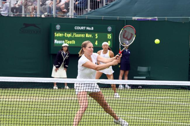 Prefering the double life: Mel South says she is far more relaxed on a doubles court than a singles court                   WI77411