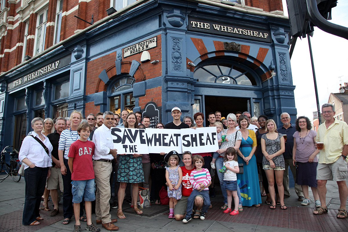 Campaigners outside The Wheatsheaf