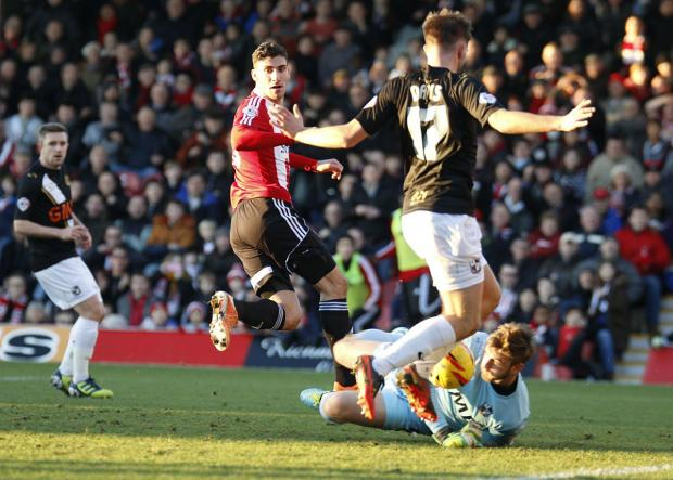 Wandsworth Guardian: On the mark: Striker Marcello Trotta gave Brentford the lead on Saturday