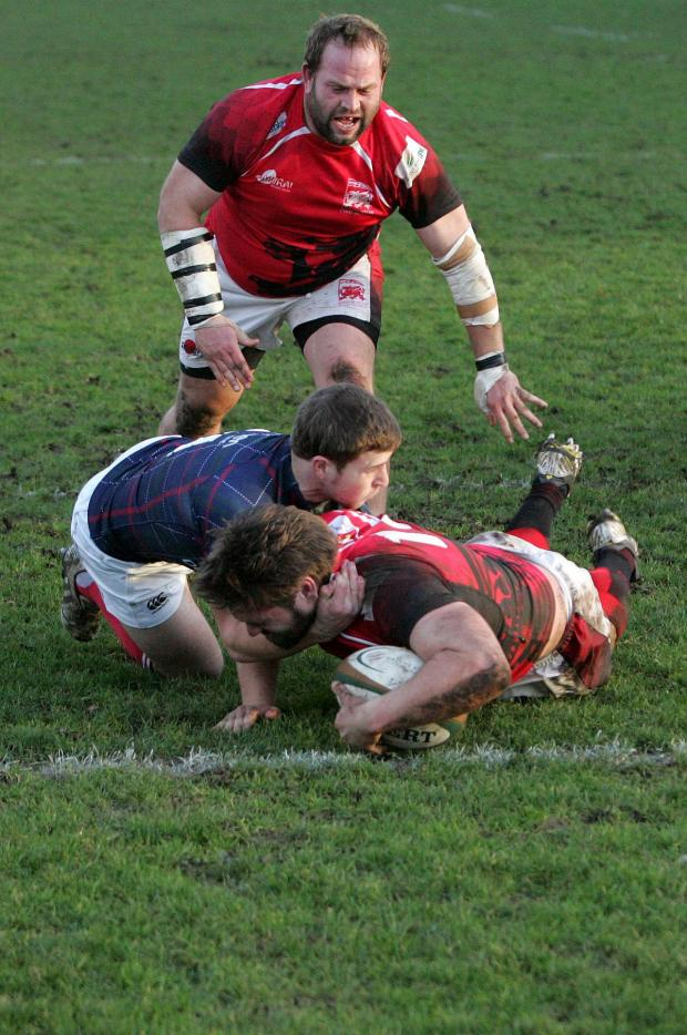 Wandsworth Guardian: Going over: London Welsh's Nathan Morris scores the match winning try