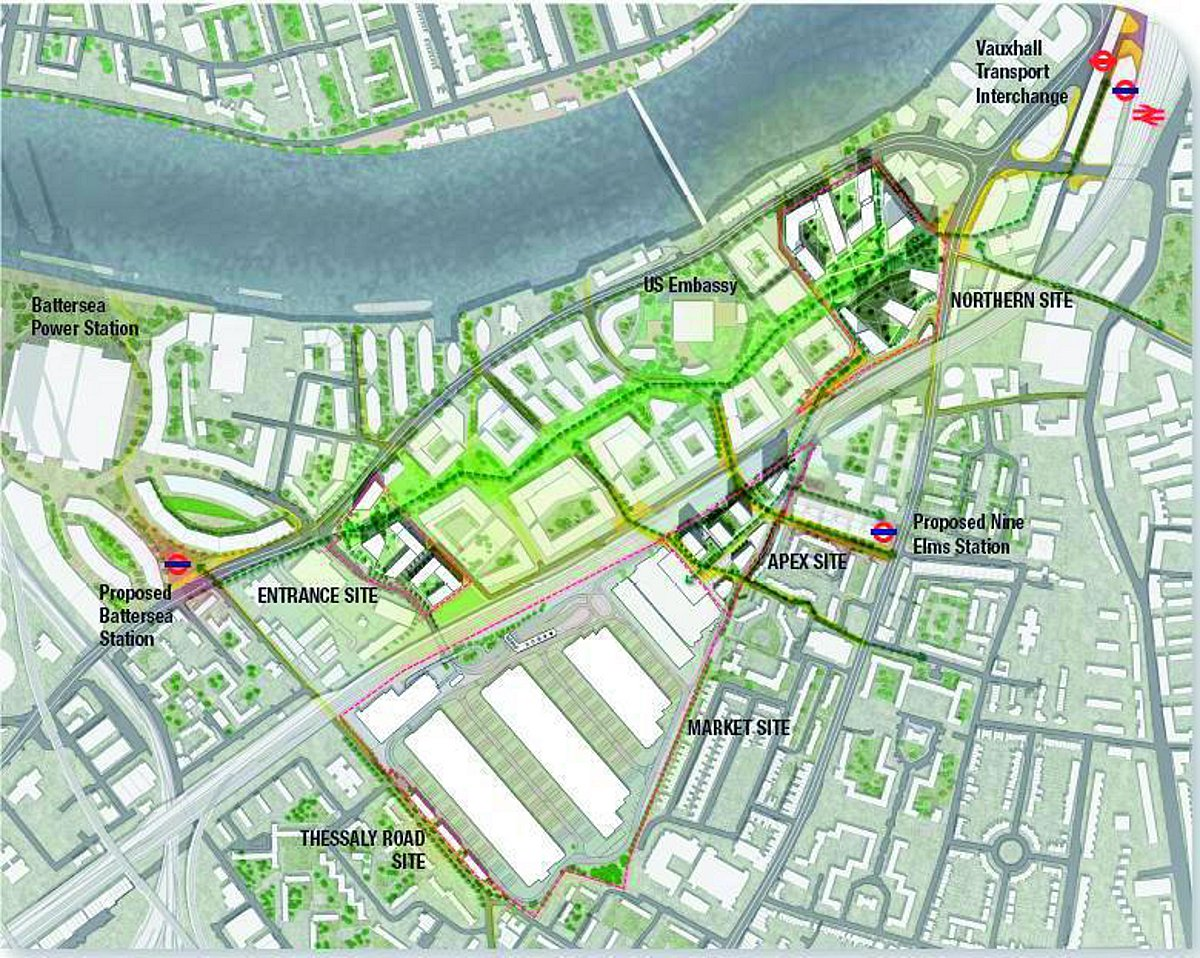 Map of the Nine Elms site
