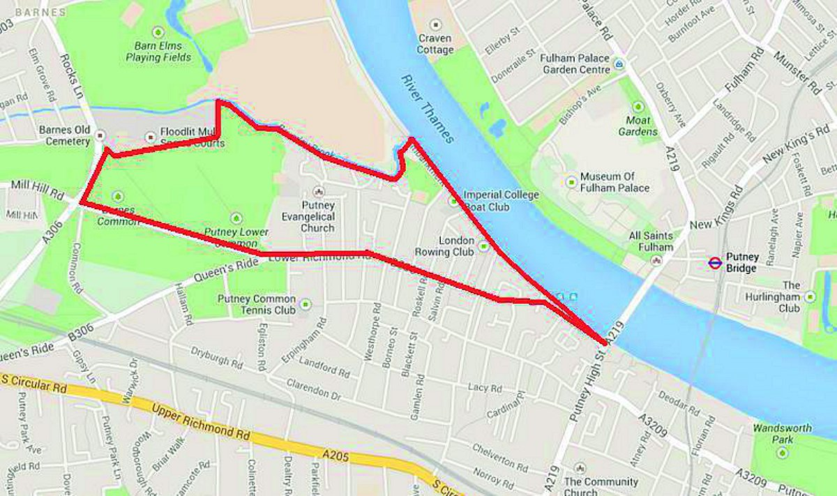 A rough border of the proposed Putney Riverside Village