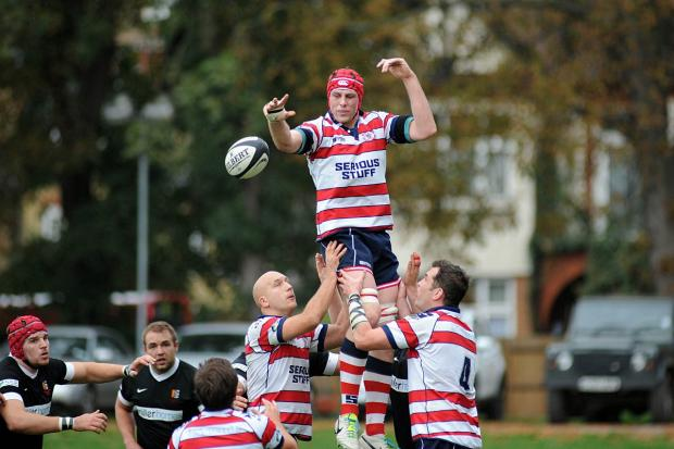 Wandsworth Guardian: Fine day: Rosslyn Park lock Richard Boyle enjoyed a fine day on the south coast                SP79024