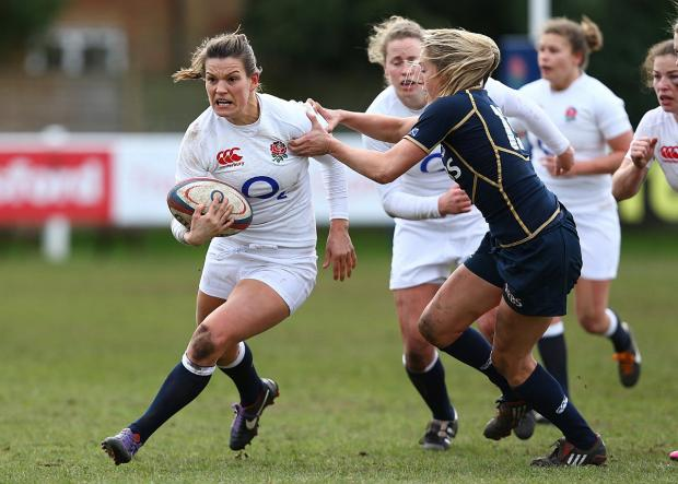 Wandsworth Guardian: Leading the way: Richmond Women's Abigail Chamberlain, left, captains the England Women Sevens squad at the IRB world sevens series in Atlanta this w