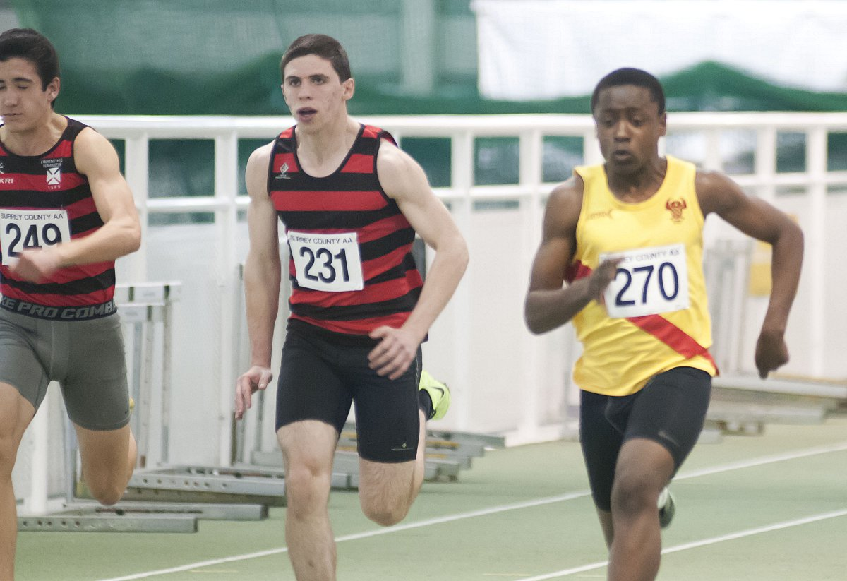 Battle: Herne Hill Harriers' Anthony Flanagan and Raphael Buckle of Hercules Wimbledon fight it out over 60m