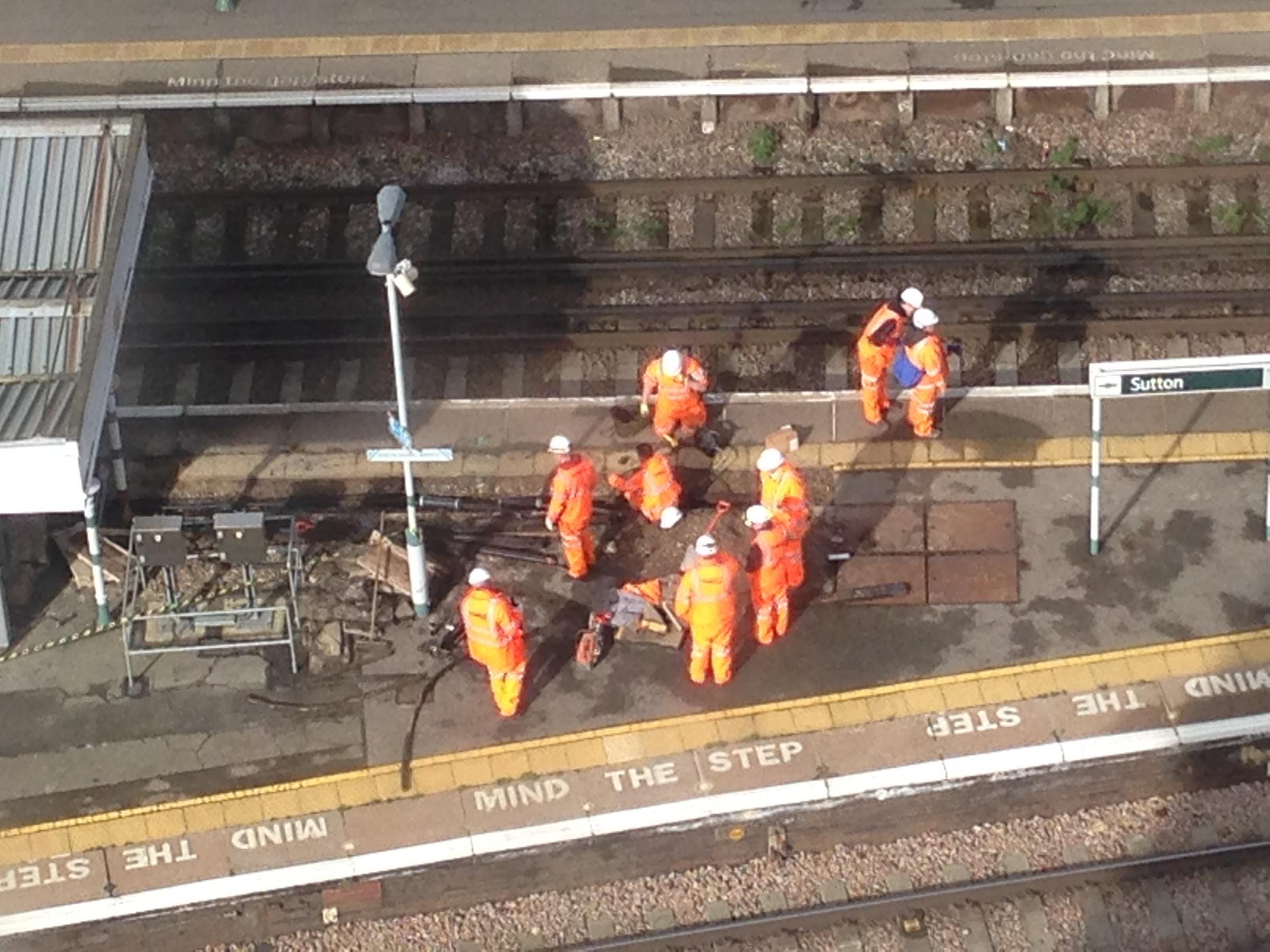 Sutton station at lunchtime today: Three-quarters of a mile of electrical cable could be replaced