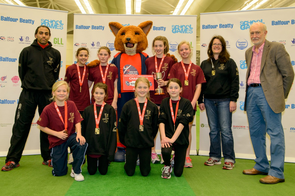 Triumphant: The Wandsworth girls' cricket team, winners of the Balfour Beatty London Youth Games indoor cricket title