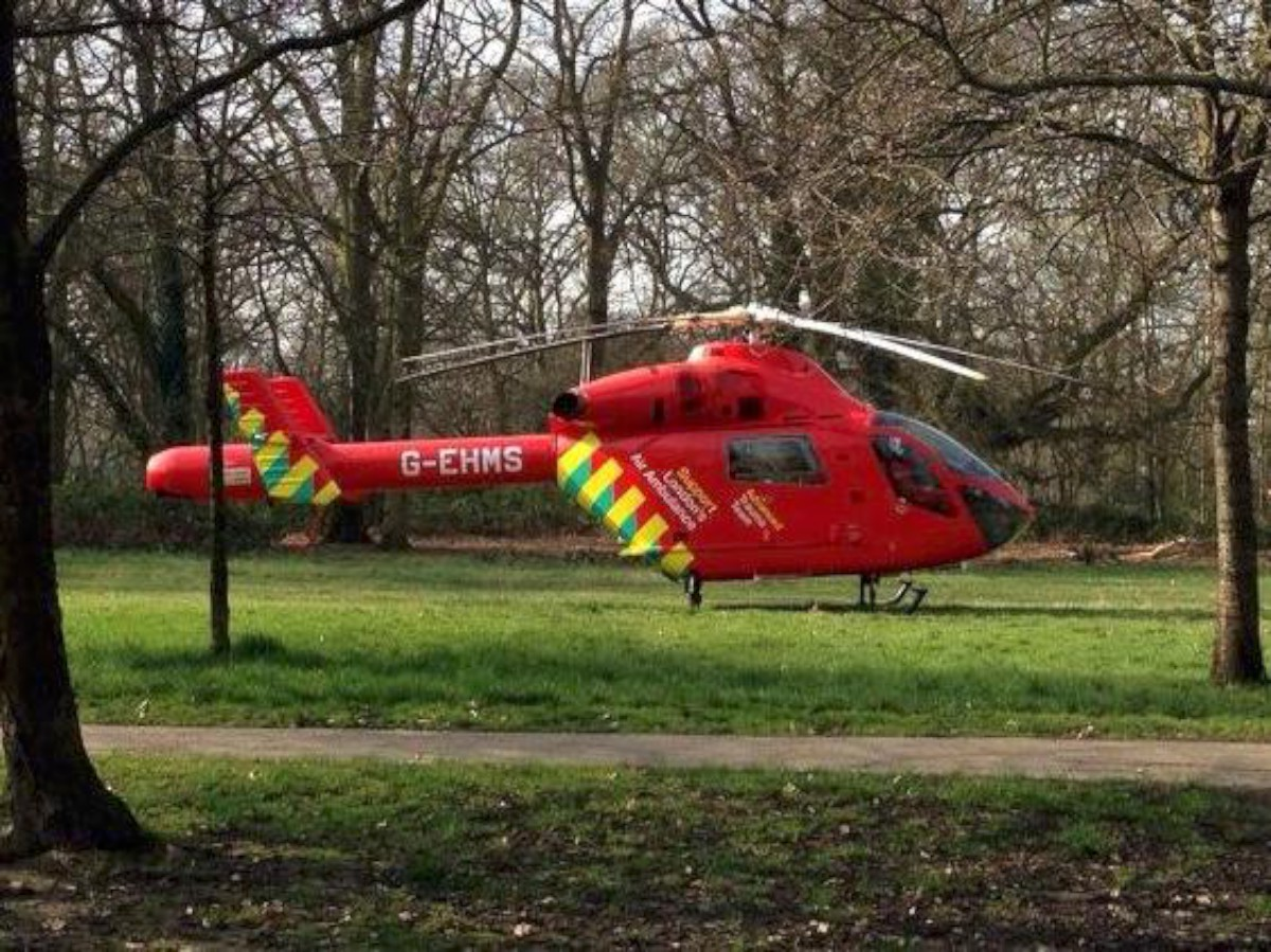 A photo of the air ambulance this morning
