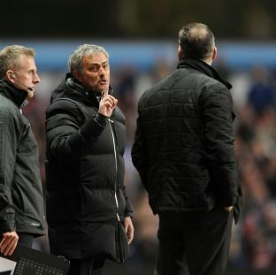 Wandsworth Guardian: Jose Mourinho, centre, was sent to the stands late on at Villa Park