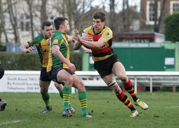 Wandsworth Guardian: Try hero: Richmond's Rob Alexander, pictured, scored a crucial try to secure the spoils at Cinderford on Saturday