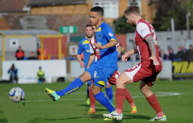Wandsworth Guardian: Jake Nicholson played for the Dons against Cheltenham last month. Picture: David Purday