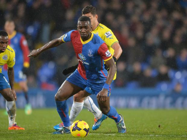 Wandsworth Guardian: Yannick Bolasie hit the bar for the Eagles. Picture by Keith Gillard.