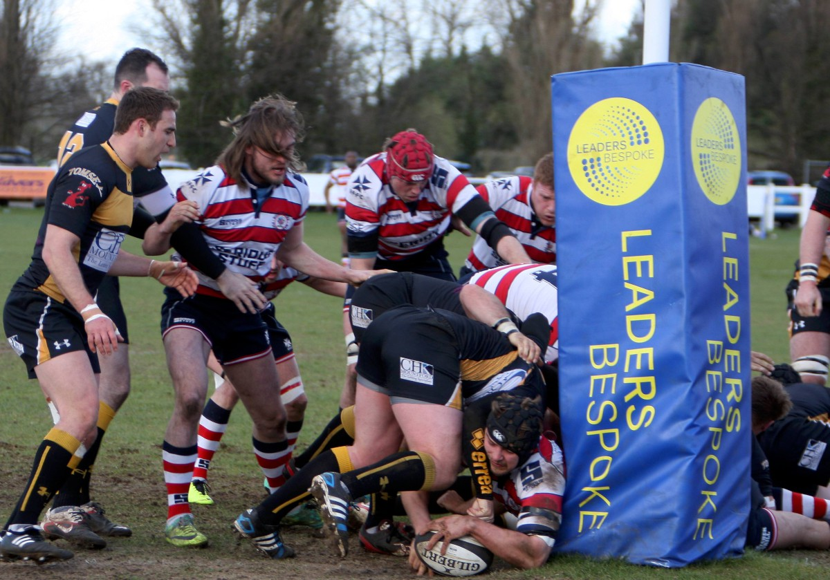 Spot the ball: Rosslyn Park's Sam Shires manages to ground the first of his two tries down at Esher on Saturday 	All pictures: David Whittam