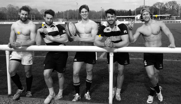 Wandsworth Guardian: Beef on the bone: London Scottish stars Mike Doneghan, Miles Mantella, Tommy Spinks, Paul Spivey, and James Love promote Sunday's Ladies Day at the Athletic Ground.