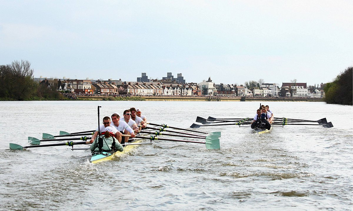 Thousands will line up across the Thames from Putney to Mortlake, to watch the two teams slog it out for first place.