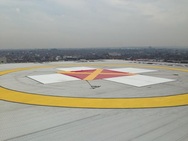 The helipad on the roof of St George's Hospital