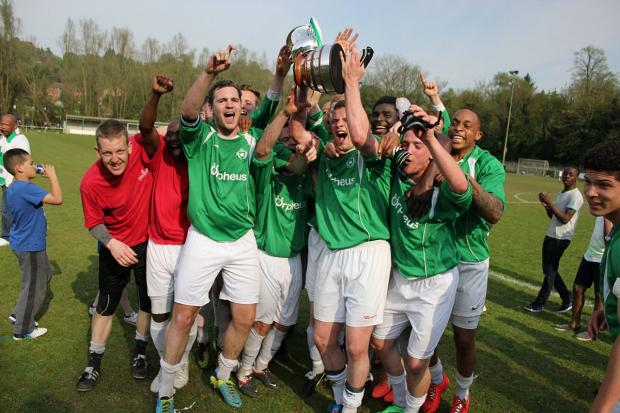 Wandsworth Guardian: Make the most of it: The Whyteleafe players get the promotion party started