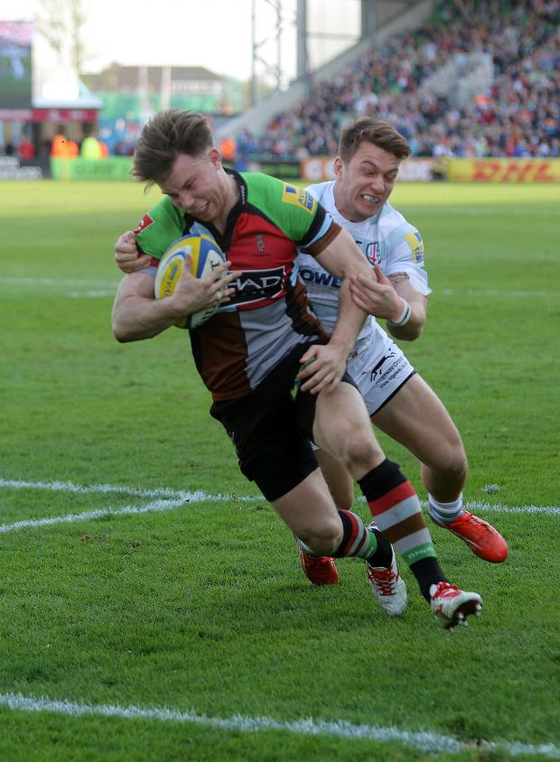 Wandsworth Guardian: On his way: Quins winger Sam Smith could end the season as the Premiership's leading try scorer and be playing in the Championship next season