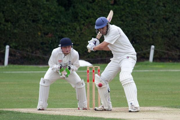 Wandsworth Guardian: Stepping into big shoes: Chris Benham, in action with the bat in last season's win over Sunbury, wants Wimbledon to dominate the club scene for years to come                  SP78638