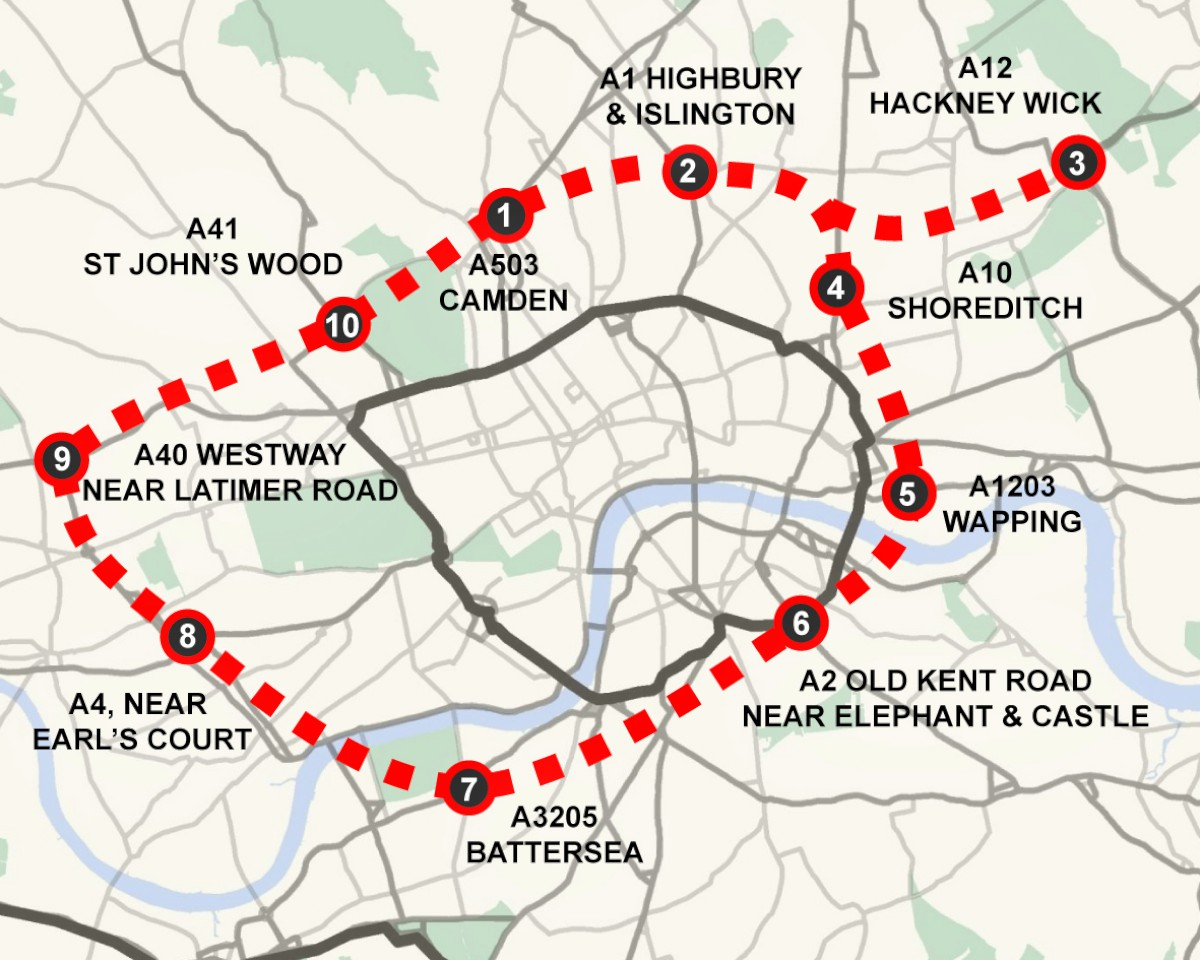 The red dotted line shows the proposed road and the black line indicates the existing inner ring road