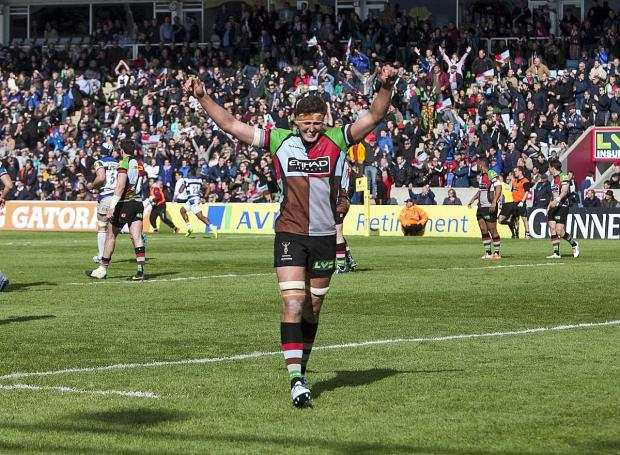 Wandsworth Guardian: On our way: Quins lock Charlie Matthews celebrates reaching the Premiership semi-finals after Saturday's 19-16 win over Bath