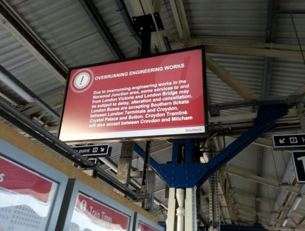 Passengers at Wimbledon station were shown this message during the morning rush hour