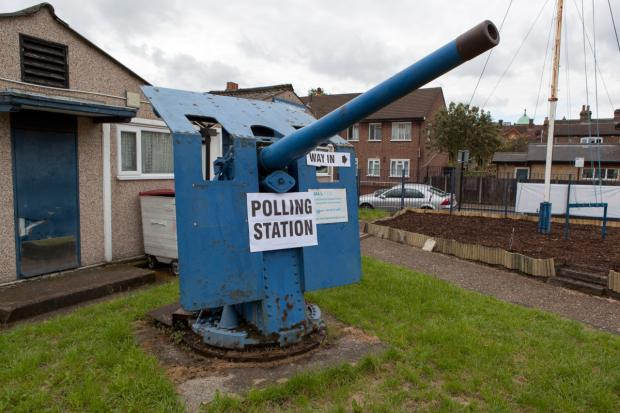 This polling station at the the Sea Cadet Corps in Mellison Road, Tooting, has been a hit with voters