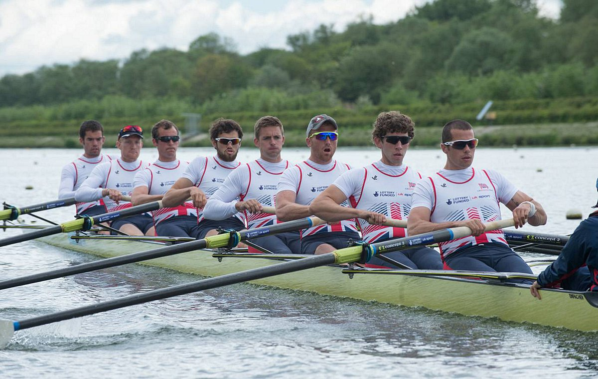 Pulling for you: Molesey Boat Club's James Foad, far right, is back in the Team GB men's eight crew for the European Championships next week, and second best will not be good enough