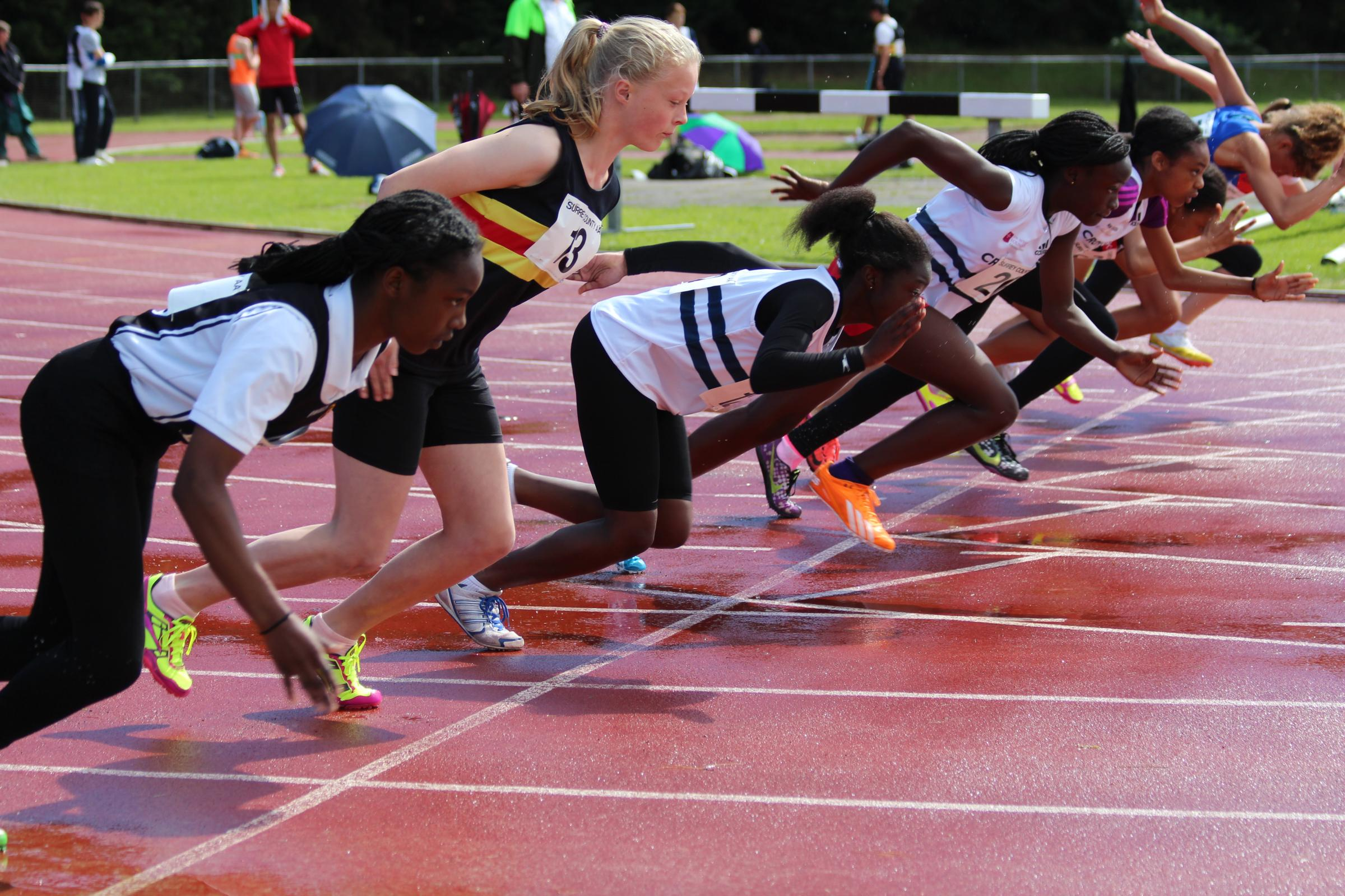 Off: Marcia Sey, fourth from left, blew away the competition in the 70m hurdles           All pictured: Karen Fossett