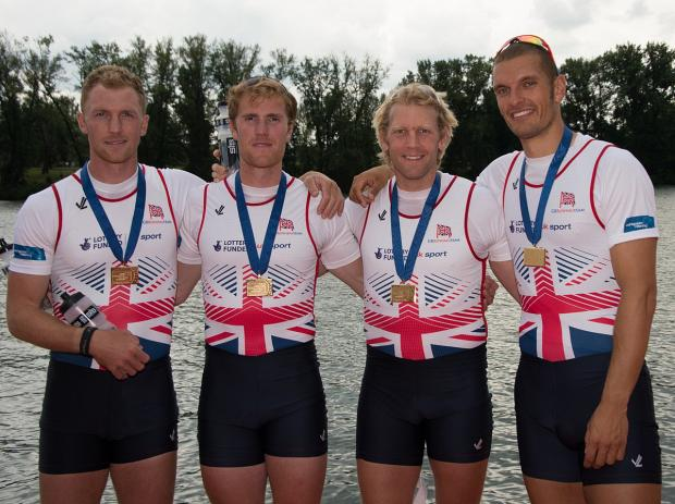 Wandsworth Guardian: Golden boys: The Team GB men's four of Alex Gregory, left, Georg