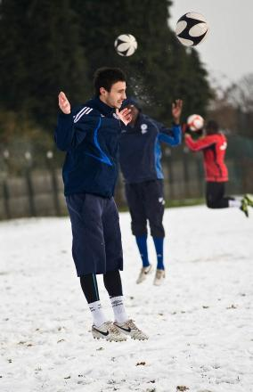 Up for it: Hampton defender Max Hustwick in winter training for former club Kingstonian