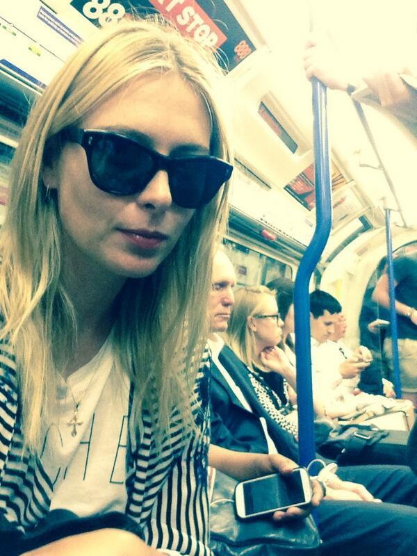 Now you see her.... well actually, no-one did. Maria Sharapova takes selfie on the Tube