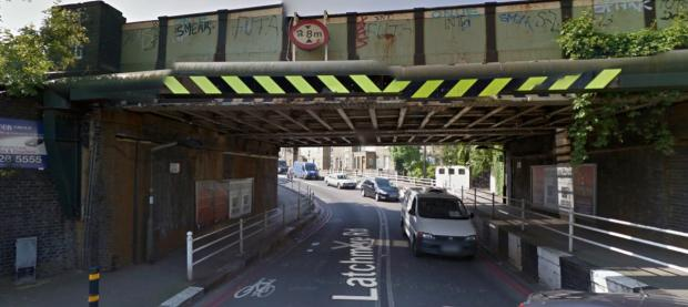 The railway bridge over Latchmere Road where the lorry became lodged