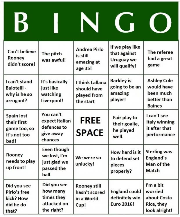 Wandsworth Times: World Cup 2014 Bingo - England v Italy