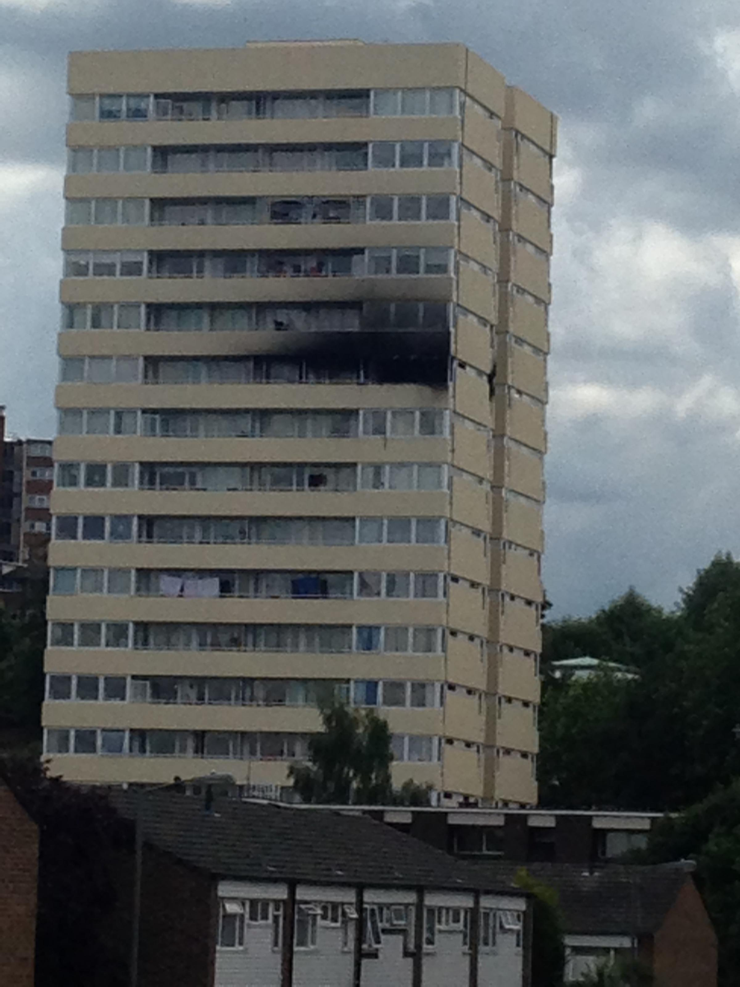 A man fell from a balcony at Andrew Reed House, Linstead Way, Southfields, during a fire on the ninth floor