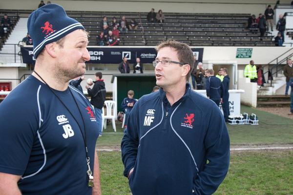 Brains trust: London Scottish head coach James Buckland with new boss Mike Friday last season