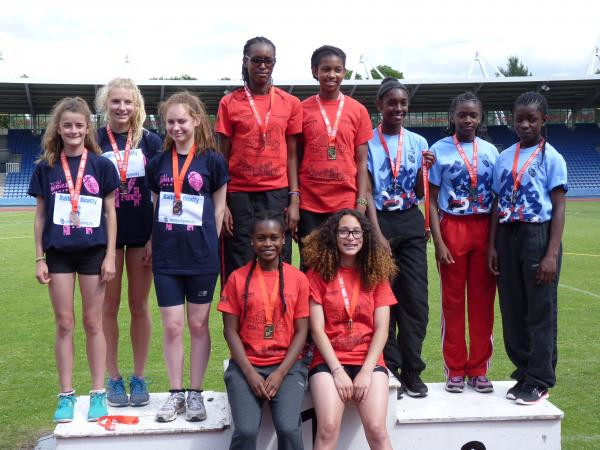 Relay winners: Harriers' Tosin Salami, Chanice Gordon, Ola Olufemi-Krakue and Naomi Hoosang-Robinson at the London Youth Games