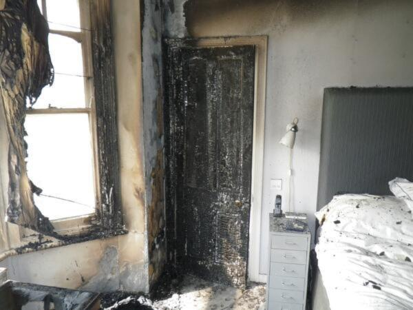 The blaze caused considerable damage to the bedroom (