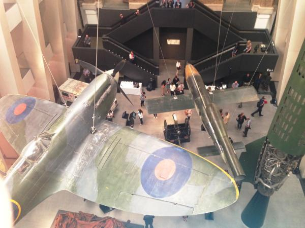 A Spitfire swoops across the atrium