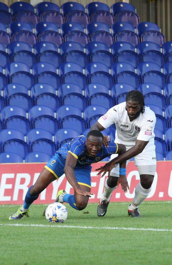 On the goal path: Adebayo Azeez got his first goal for AFC Wimbledon in the Tuesday night win over Sutton United               SP86449