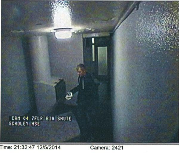 Liam Hynes caught on CCTV in Scholey House in Battersea