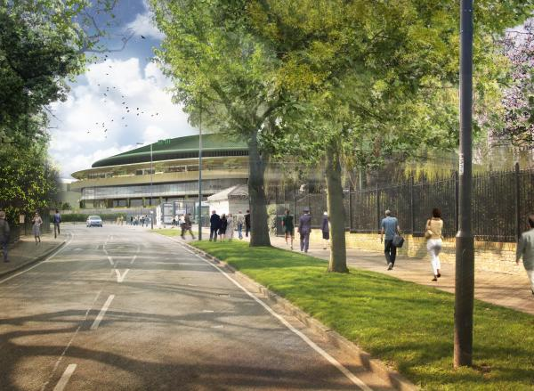 An artists' impression of the new roof on Court One from the road.